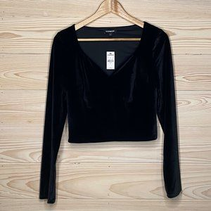 NWT Black Velvet V Neck Long Sleeve Top